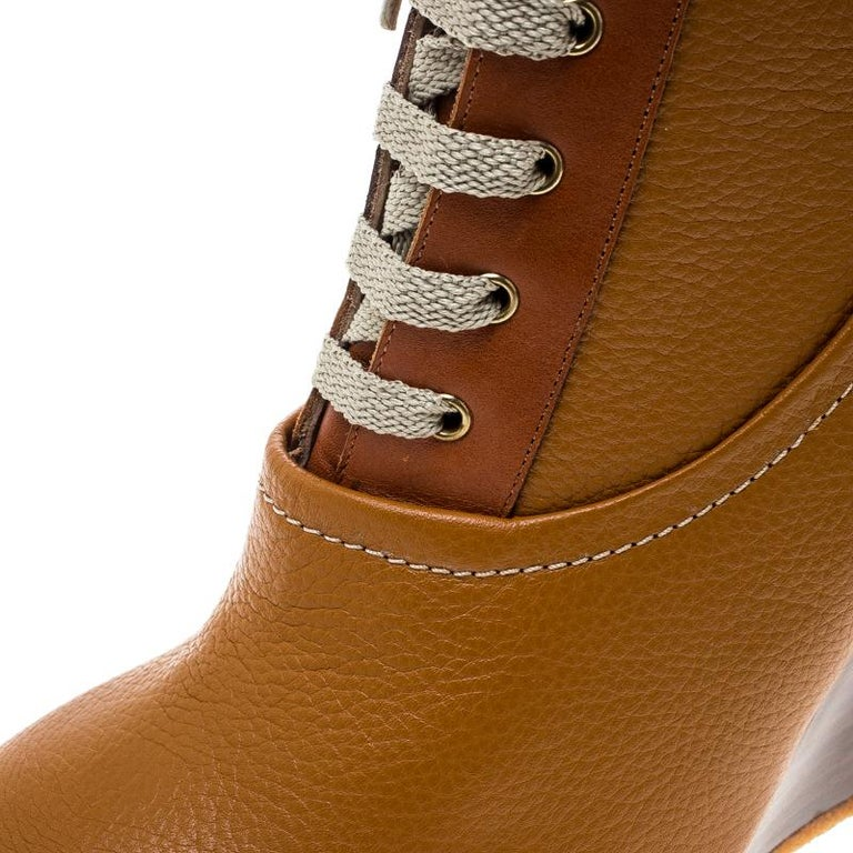 1201ab292e6f1 Chloe Brown Leather Lace Up Wedge Ankle Boots Size 38 For Sale at ...