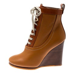 Chloe Brown Leather Lace Up Wedge Ankle Boots Size 38.5