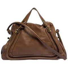 Chloe Brown Leather Large Paraty Satchel