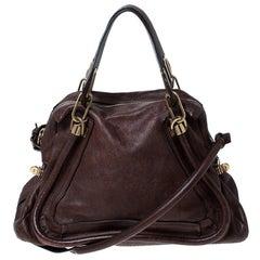 Chloe Brown Leather Paraty Shoulder Bag