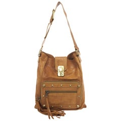 Chloe Brown Leather Tassel Hobo Bag