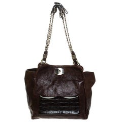 Chloe Brown Leather Vintage Chain Tote
