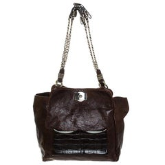 Chloe Brown Leather Vintage Chain Tote