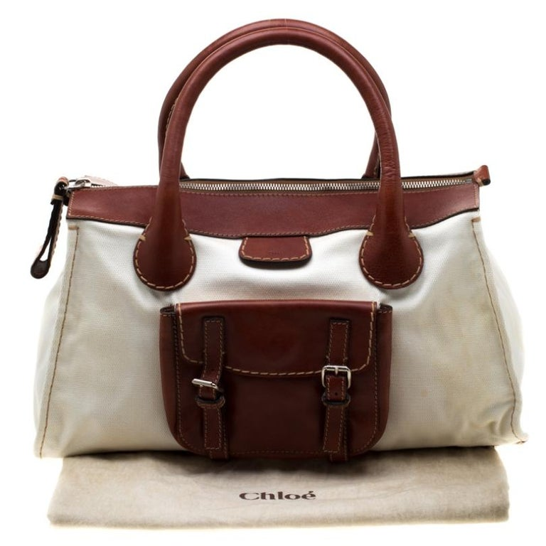 Chloe Brown/Off-White Canvas and Leather Edith Shopper Tote For Sale 9