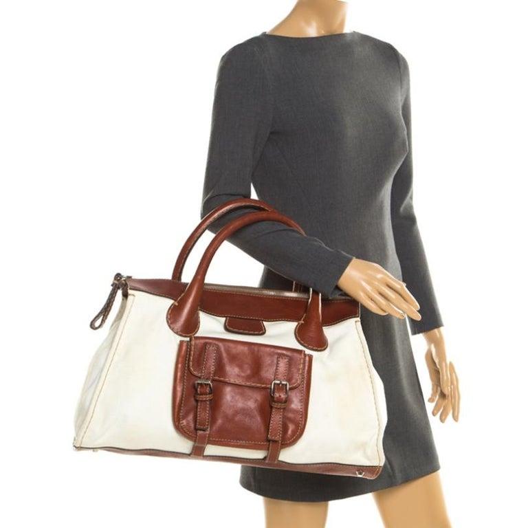 Chloe Brown/Off-White Canvas and Leather Edith Shopper Tote In Fair Condition For Sale In Dubai, Al Qouz 2