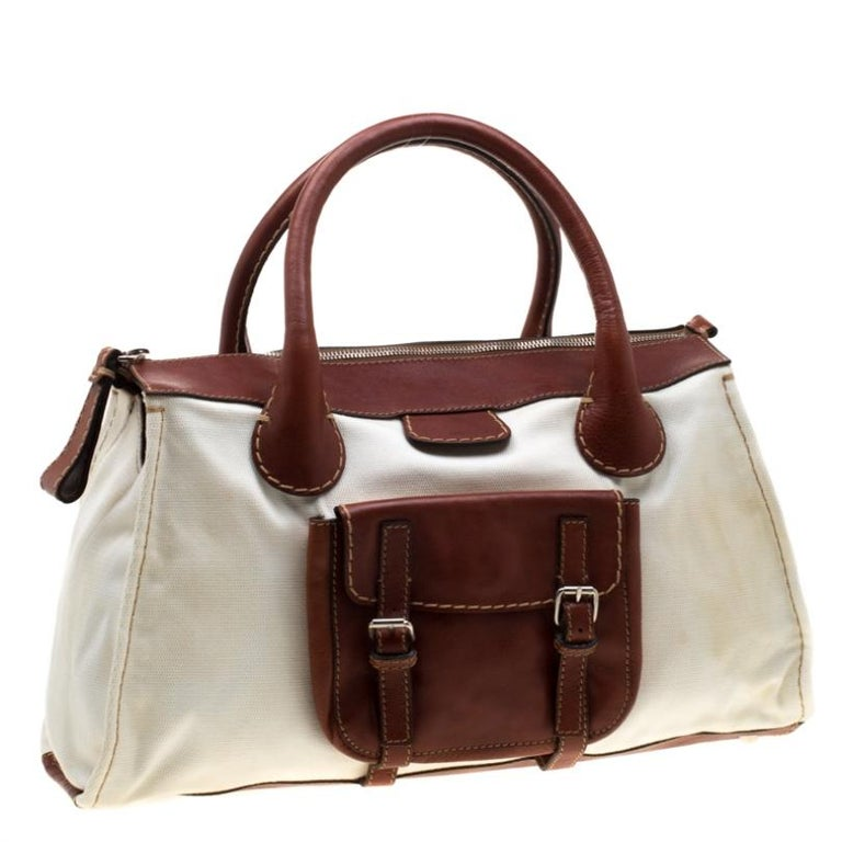 Women's Chloe Brown/Off-White Canvas and Leather Edith Shopper Tote For Sale