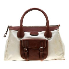 Chloe Brown/Off-White Canvas and Leather Edith Shopper Tote