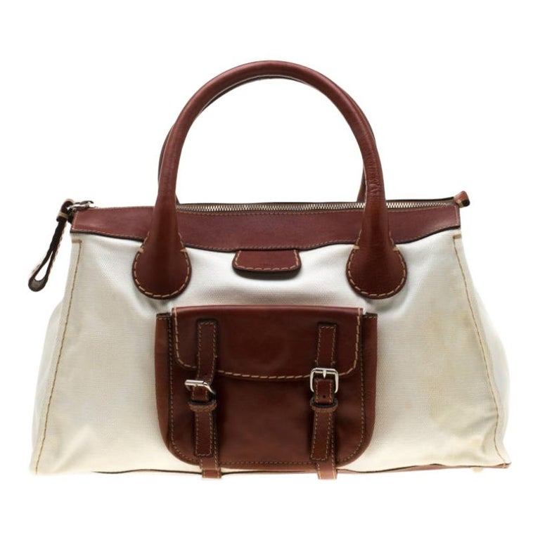 Chloe Brown/Off-White Canvas and Leather Edith Shopper Tote For Sale