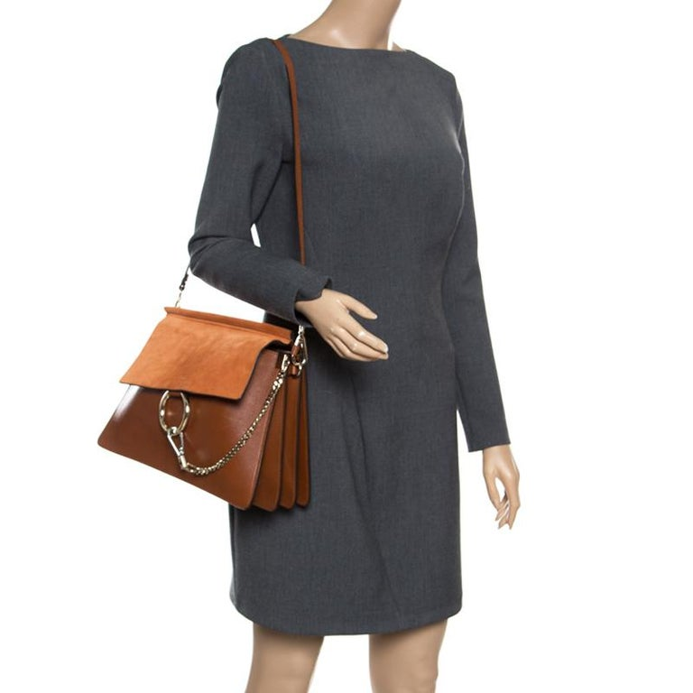 f02a604897c Chloe Brown/Orange Leather and Suede Faye Shoulder Bag For Sale. You are  going to love owning this Faye shoulder bag from Chloe as it is well
