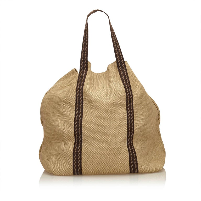 Chloe Brown Rayon Tote Bag In Good Condition For Sale In Orlando, FL