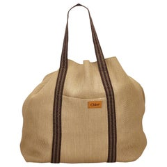 Chloe Brown Rayon Tote Bag