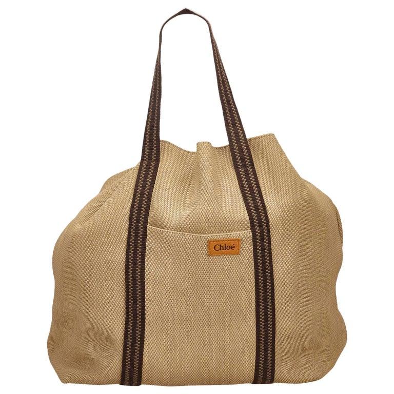 Chloe Brown Rayon Tote Bag For Sale