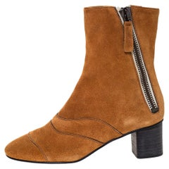 Chloe Brown Suede Block Heel Ankle Boots Size 37.5