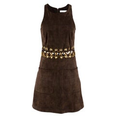 Chloe Brown Suede Eyelet Cut-Out Mini Dress 36