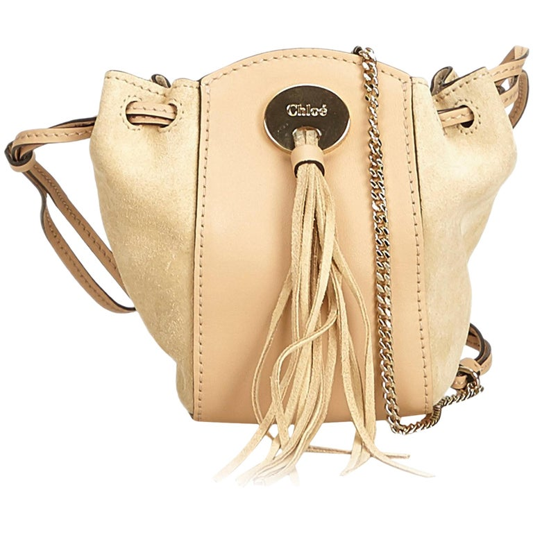 69edf192a7 Chloe Brown Suede Leather Drawstring Crossbody at 1stdibs
