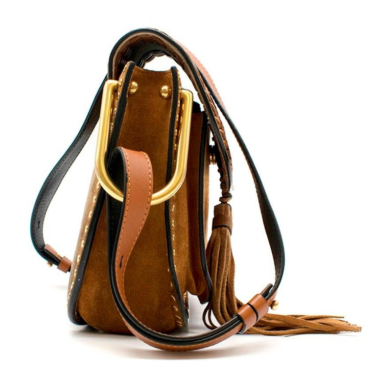 cb0cf7d9a1e23 Chloe Brown Suede Small Hudson Bag -Brown whipstitched suede bag -Flap bag  with tassel
