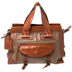 Chloe Brown/Tan Leather Zip Satchel