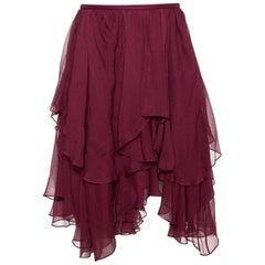 Chloé Burgundy Georgette Silk Asymmetric Layered Mini Skirt M
