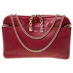 Chloe Burgundy Leather Lucy Shoulder Bag