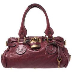 Chloe Burgundy Leather Medium Paddington Satchel