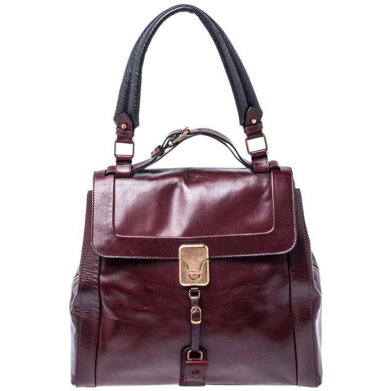 Chloe Burgundy Leather Top Handle Bag