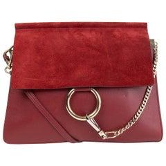 CHLOE burgundy suede & leather FAYE MEDIUM Shoulder Bag