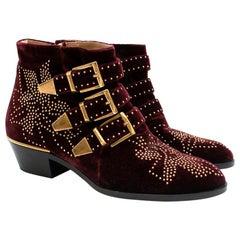 Chloe Burgundy Susanna Velvet Embelished Ankle Boots 36.5