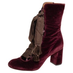 Chloe Burgundy Velvet Harper Mid Calf Boots Size 41