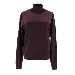 Chloe Burgundy Wool Turtleneck Sweater Size S
