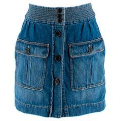 Chloe Button Down Blue Denim Mini Skirt - Size US 2