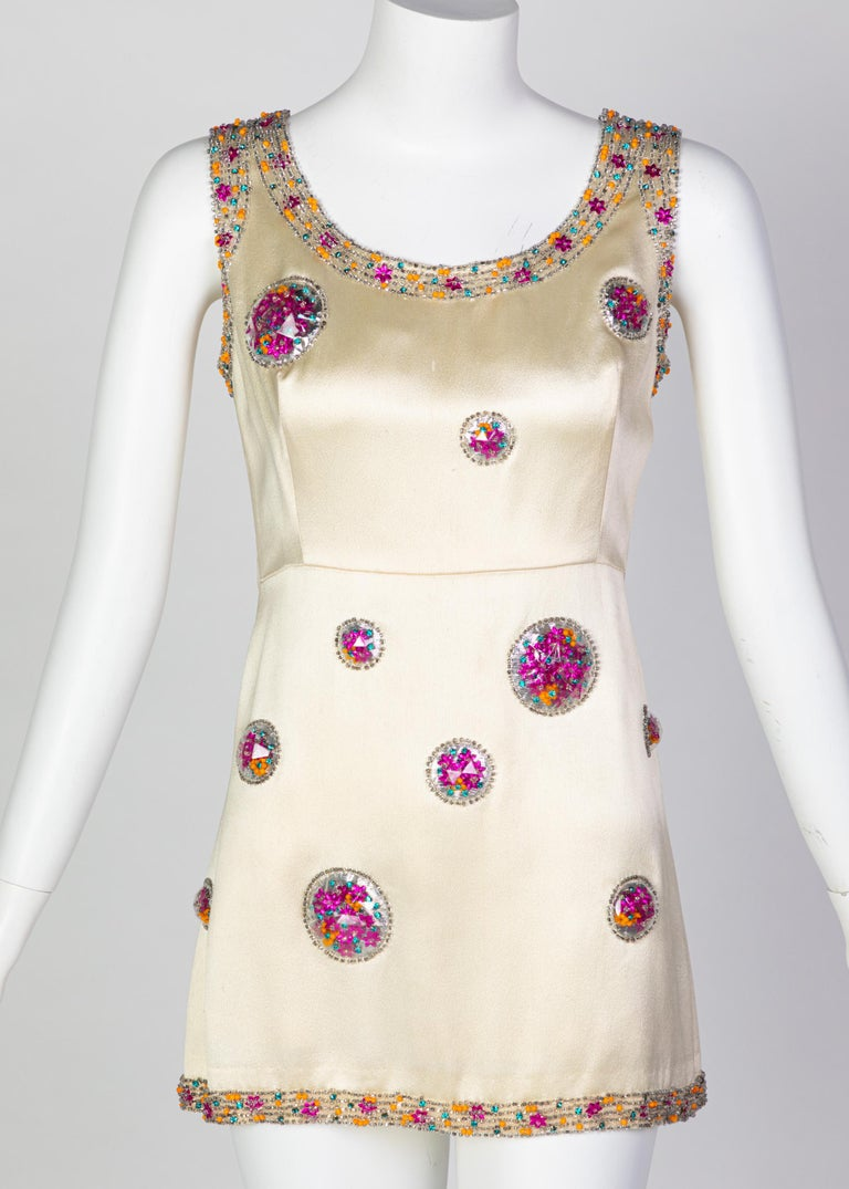 Beige Chloé Karl Lagerfeld Documented Cream Satin Beaded Pod Applique Mini dress, 1969 For Sale