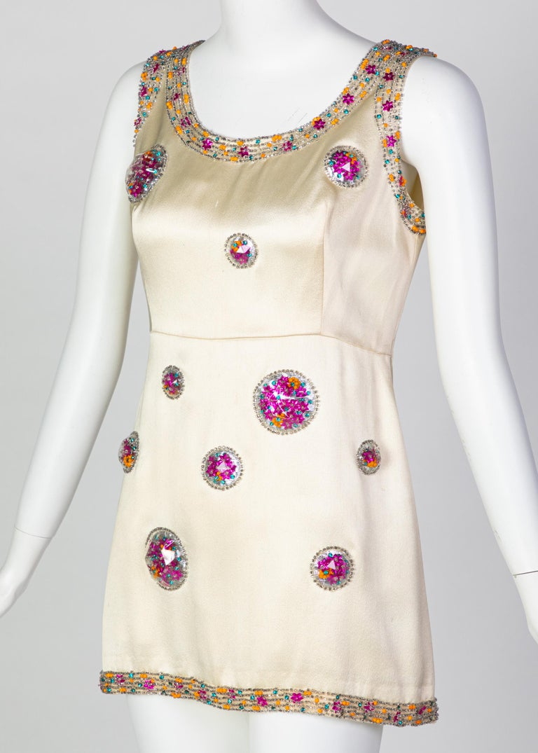 Chloé Karl Lagerfeld Documented Cream Satin Beaded Pod Applique Mini dress, 1969 In Good Condition For Sale In Boca Raton, FL