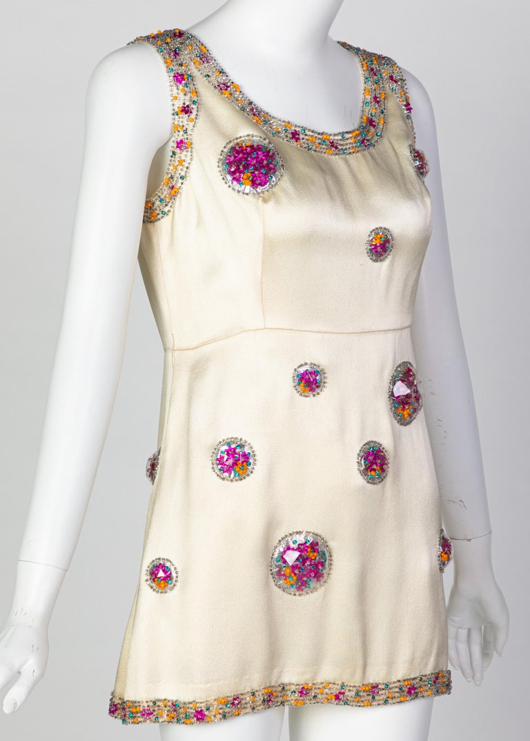 Women's Chloé Karl Lagerfeld Documented Cream Satin Beaded Pod Applique Mini dress, 1969 For Sale