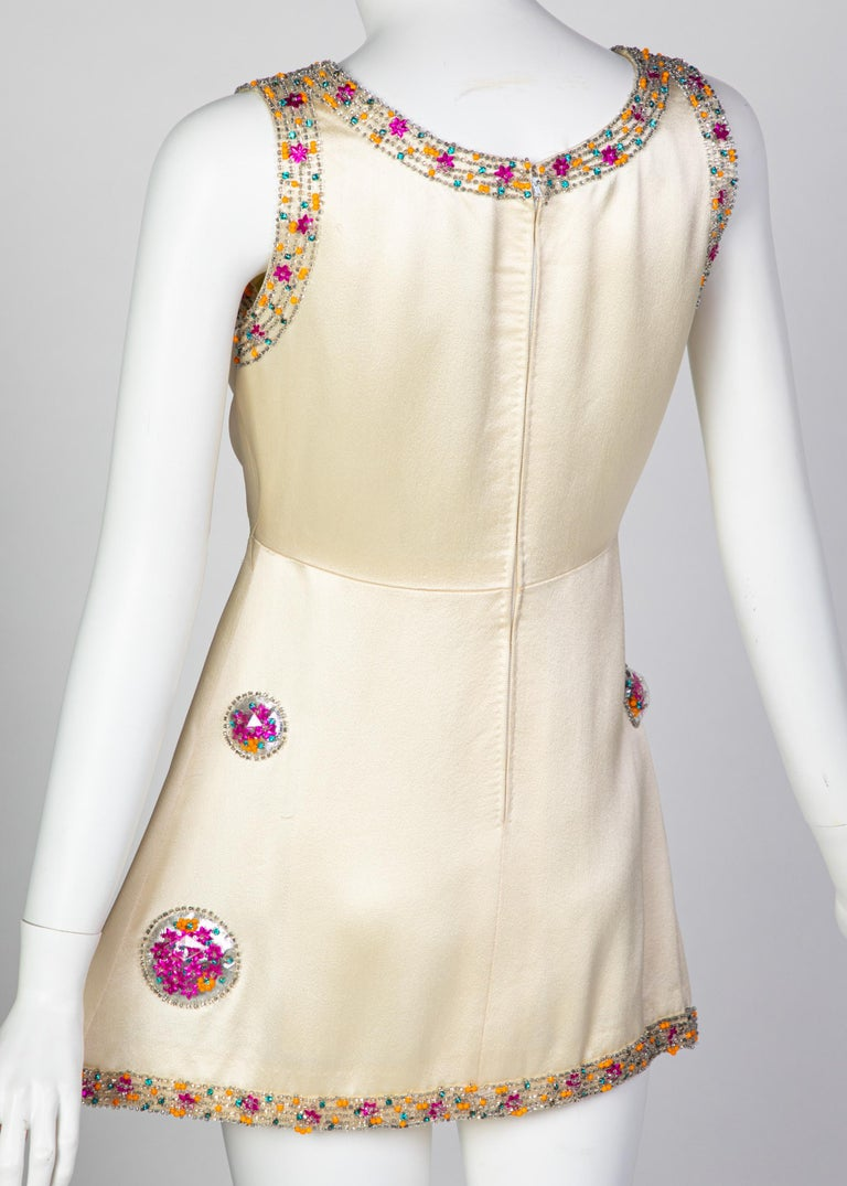 Chloé Karl Lagerfeld Documented Cream Satin Beaded Pod Applique Mini dress, 1969 For Sale 1