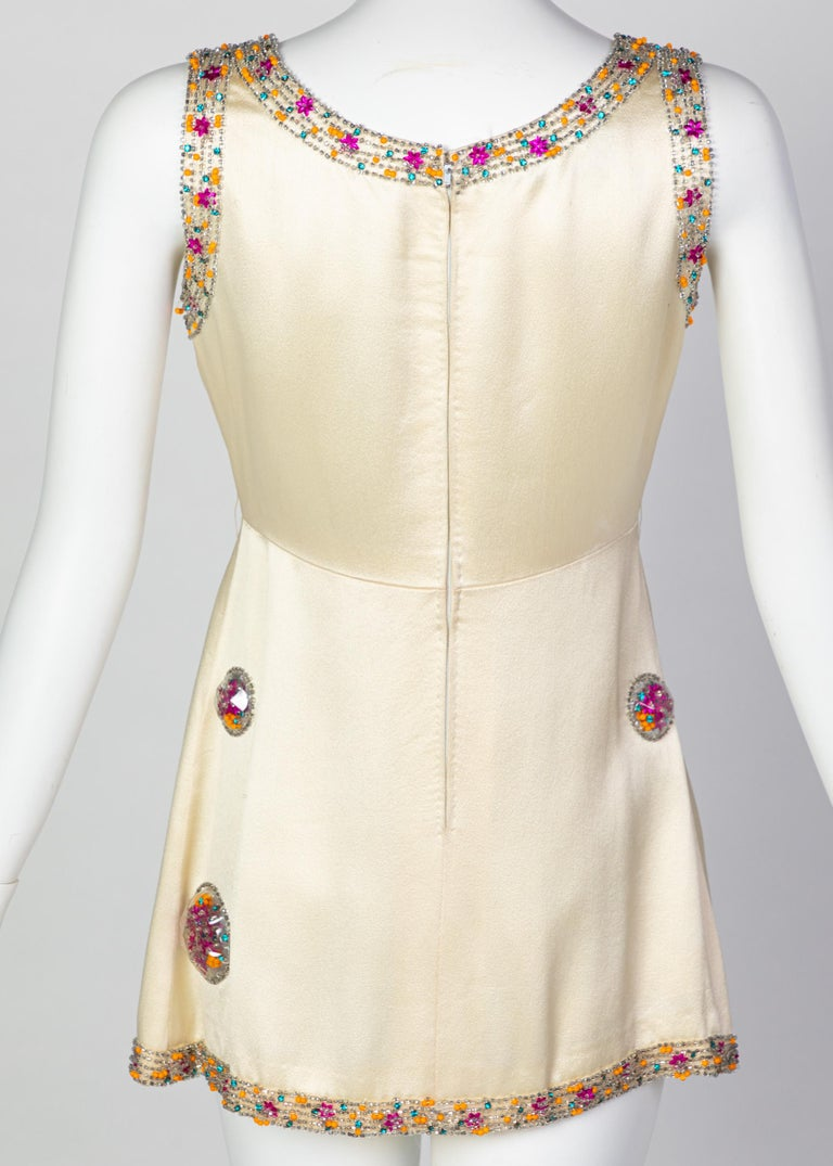 Chloé Karl Lagerfeld Documented Cream Satin Beaded Pod Applique Mini dress, 1969 For Sale 2