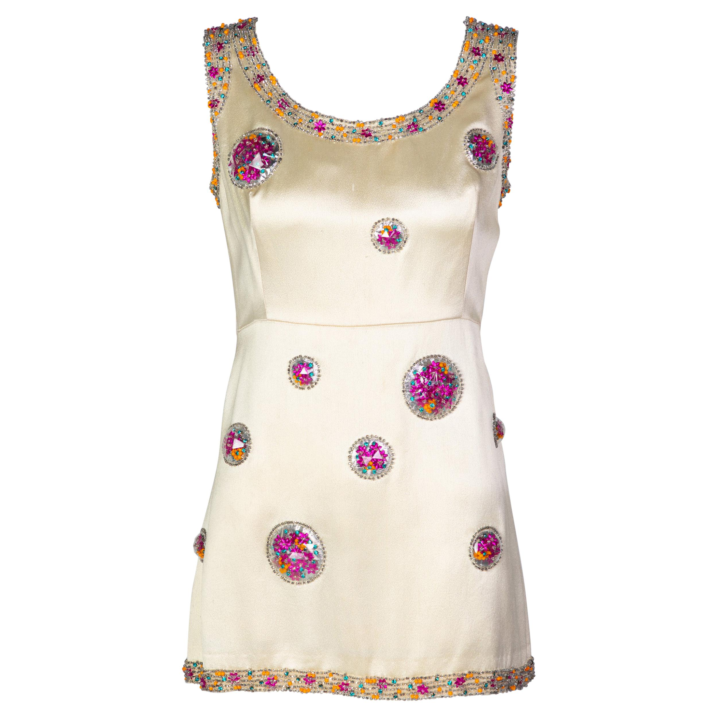 Chloé Karl Lagerfeld Documented Cream Satin Beaded Pod Applique Mini dress, 1969