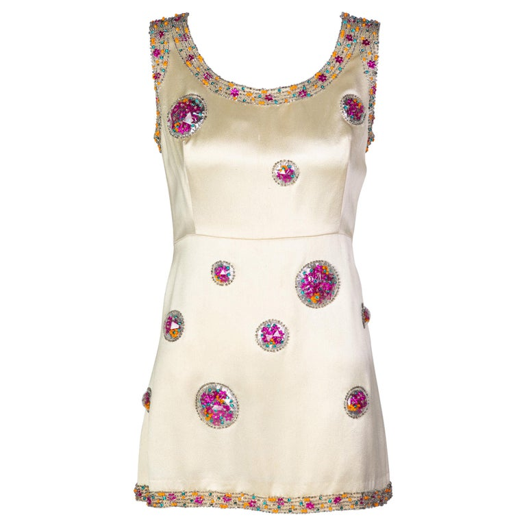 Chloé Karl Lagerfeld Documented Cream Satin Beaded Pod Applique Mini dress, 1969 For Sale