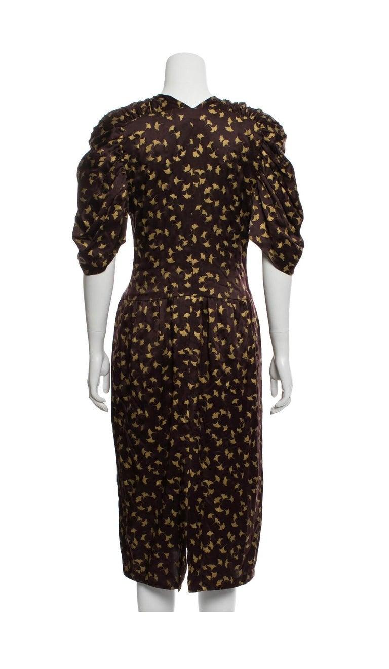 Black Chloe by Karl Lagerfeld Purple and Gold Ginkgo Leaf Print Silk Dress, 1980s For Sale