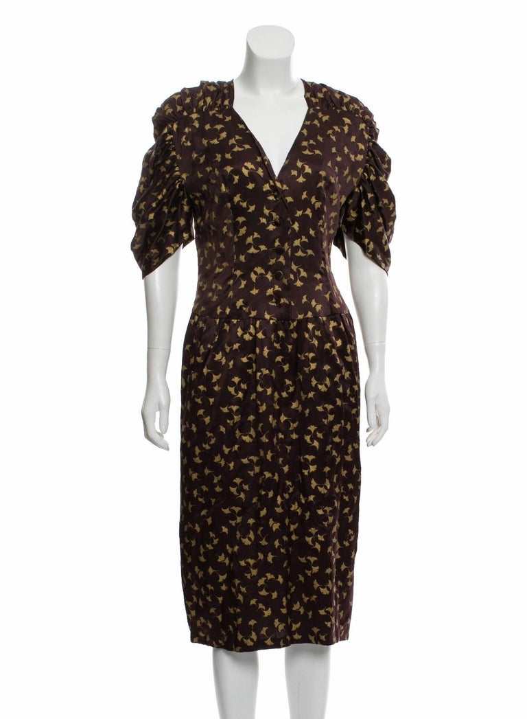Chloe by Karl Lagerfeld Purple and Gold Ginkgo Leaf Print Silk Dress, 1980s In Good Condition For Sale In Austin, TX