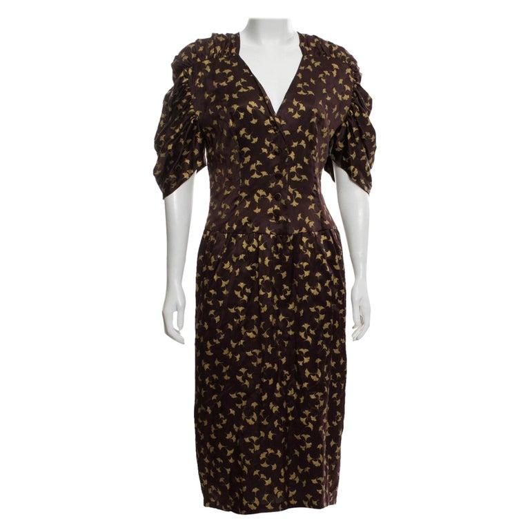 Chloe by Karl Lagerfeld Purple and Gold Ginkgo Leaf Print Silk Dress, 1980s For Sale