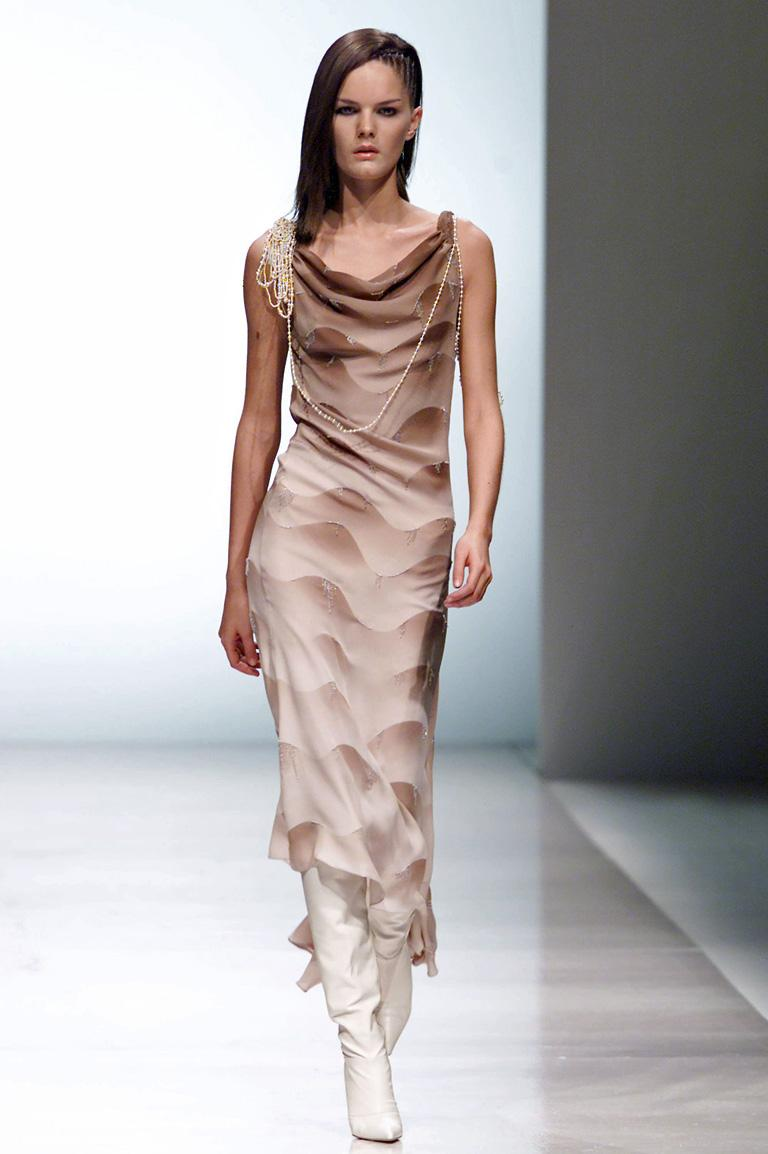 Rare Chloe by Stella McCartney Fall 2001 sleeveless, cowl neck ombre silk bias cut dress.  Neckline draped with attached faux pearl necklace.  The  textile fashioned in earth tone shades graduating in a wave pattern adorned with twinkling tiny