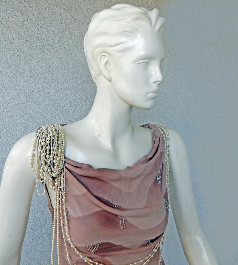 Gray Chloe by Stella McCartney Vintage Runway Ombre Silk Dress w/ Pearl Necklace For Sale