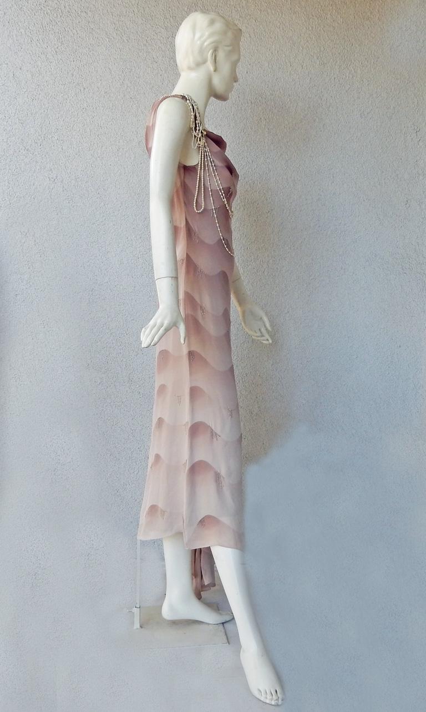 Women's Chloe by Stella McCartney Vintage Runway Ombre Silk Dress w/ Pearl Necklace For Sale