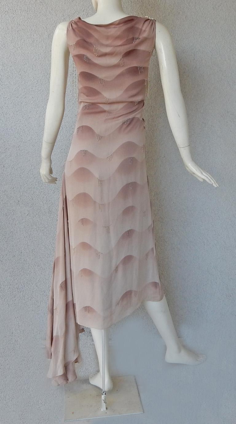 Chloe by Stella McCartney Vintage Runway Ombre Silk Dress w/ Pearl Necklace For Sale 1