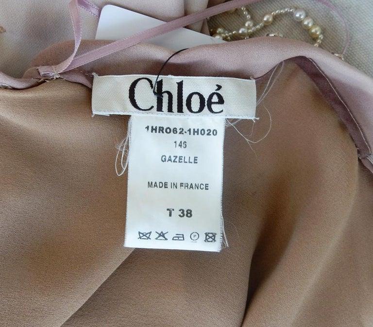 Chloe by Stella McCartney Vintage Runway Ombre Silk Dress w/ Pearl Necklace For Sale 3
