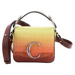 Chloe C Crossbody Bag Ombre Crocodile Embossed Leather Mini