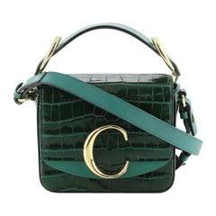 Chloe C Double Carry Bag Crocodile Embossed Leather Mini