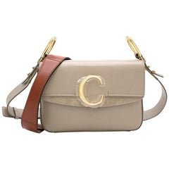 Chloé C small suede-trimmed leather shoulder bag - New Season
