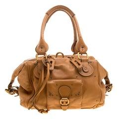 Chloe Camel Leather Front Pocket Paddington Satchel