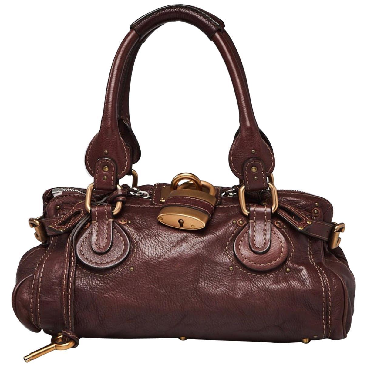 CHLOE Chocolate Brown Leather Paddington Medium Satchel Bag with Lock & Key